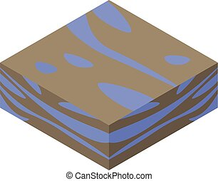Soil with water icon, isometric style - Soil with water...
