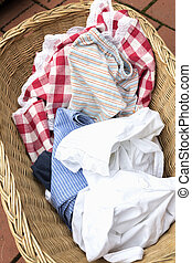 Soiled laundry in a basket