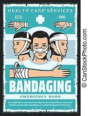 soin, bandage, monde médical, head., urgence, bras, main