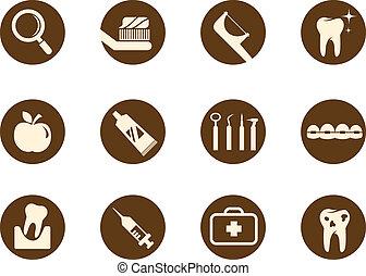 soin, dentaire, ensemble, icône, dents
