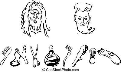 soin, homme, cheveux, articles, magasin, après, avant, coiffeur, figure, ensemble