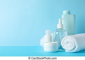soin, hygiène, corps, arrière-plan., produits, bleu, personnel