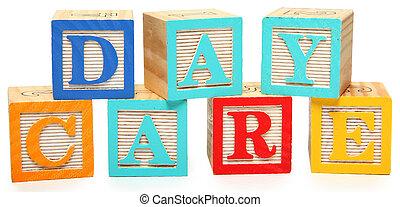 soin jour, dans, alphabet bloque