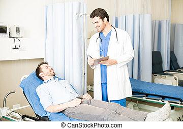 soin prenant, patient, docteur hôpital