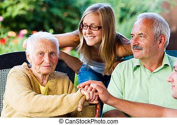 soins, famille, visiter, grand-mère, malade, maison