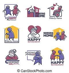 soins, heureux, gens, maison, personnes agées, retraite