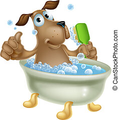 soins personnels, bain, chien, dessin animé