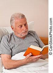 soins, quand, lit, livre, maison, personne agee