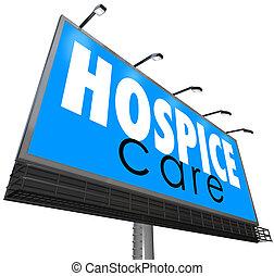 soins, service, monde médical, hospice, panneau affichage, maison, annoncer, soin