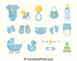 soins, set., illustration, hygiène, vecteur, santé, bébé, produits, soin