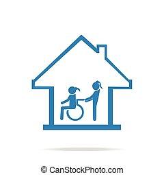soins, signe, handicapé, soin, maison, icône