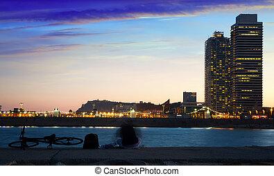 soir, été, plage, barceloneta