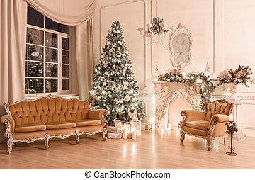 soir, candlelight., classique, fenetres, appartements, sofa, noël, grand arbre, chandelier., cheminée, décoré, blanc