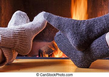 soir, cheminée, hiver, délassant