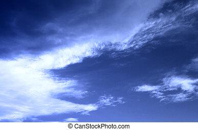 soir, ciel, à, nuages blancs