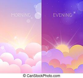 soir, ciel, illustration, matin