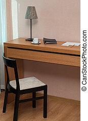 soir, coffee., fonctionnement, room., lampe bureau, endroit, chair., temps, maison, casquette