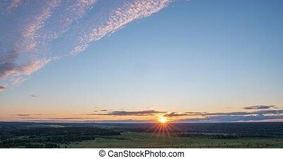 soir, contre, nuages, défaillance temps, mouvement, beau, ...