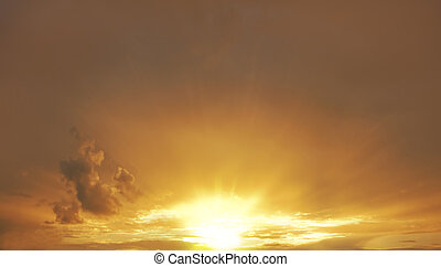 soir, coucher soleil, sky.