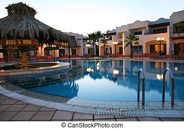soir, coup, hôtel, exotique, piscine, natation