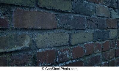 soir, dépassement, dehors, mur, brique