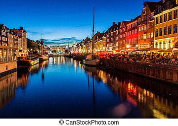 soir, district, nyhavn, denma, copenhague, vue