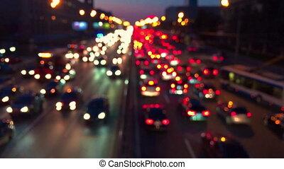 soir, embouteillage, voitures