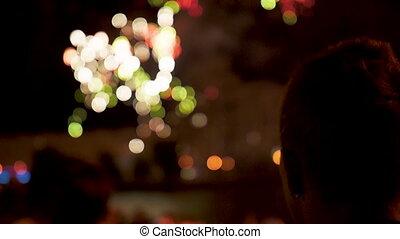 soir, exposition, feux artifice, gens, nuit, regard, vacances