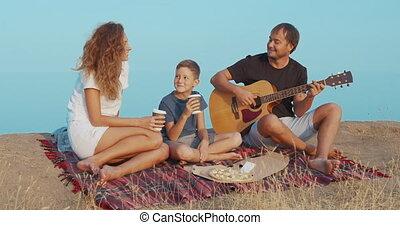 soir, guitar., famille, jouer, plage, séance