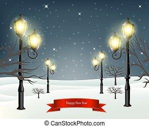 soir, hiver, illustration, lampposts., vecteur, noël, paysage