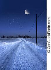 soir, hiver, route, lune