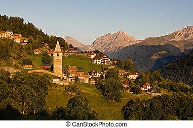 soir, -, idyllique, village, suisse, alpin