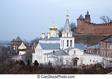 soir, nizhny, printemps, église, novgorod, elijah, prophète, russie, vue