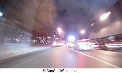 soir, nuages, va, voitures, couler, rapidement, visible, au-dessus, autoroute