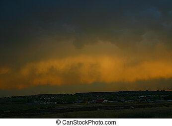 soir, orage