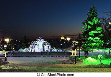 soir, parc, hiver