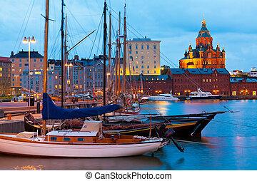 soir, paysage, de, les, vieux port, dans, helsinki, finlande