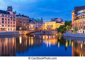soir, paysage, de, stockholm, suède