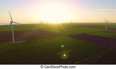 soir, paysage., production, beau, énergie, moulins, ...
