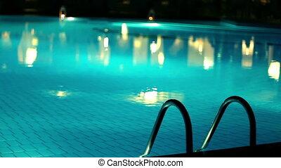 soir, piscine, natation