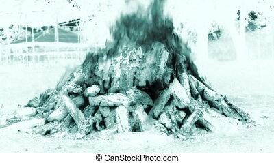 soir, pré, brûlé, brûler, morceau, une, grand, bois, chutes