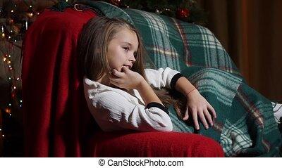 soir, séance, doux, plaid, girl, chaise