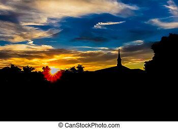 soir, service, église
