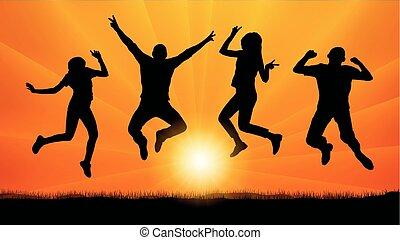 soir, silhouette, sauter personnes, vecteur, amis, coucher soleil