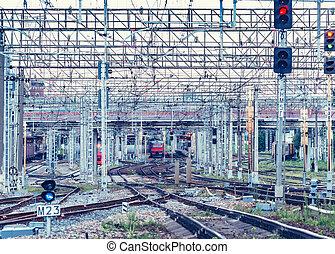 soir, station, time., ferroviaire, vue