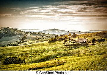 soir, toscane, humeur, paysage