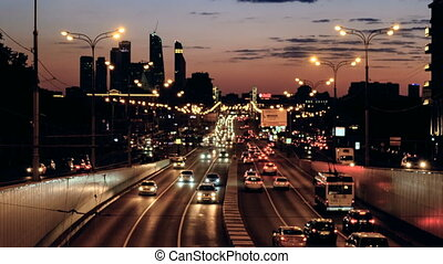 soir, voitures, coucher soleil, lumière, aller, route