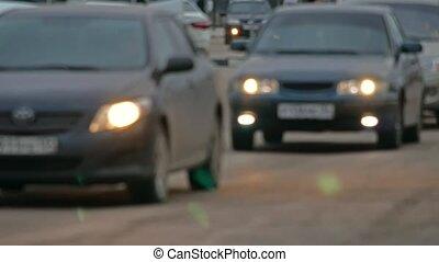 soir, voitures, mouvement brouillé, lumières, fond, aller, route, briller