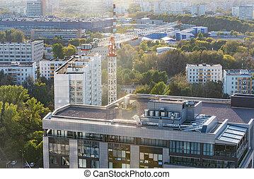 soir, vue ville, time., russia., moscow., aérien