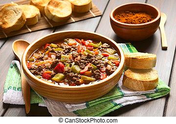 soja, goulash, carne, vegetariano